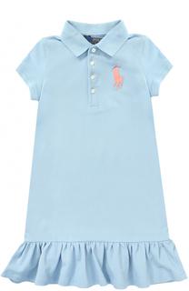 Хлопковое мини-платье с оборкой и логотипом бренда Polo Ralph Lauren