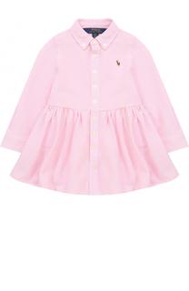 Хлопковое мини-платье с логотипом бренда и воротником button down Polo Ralph Lauren