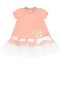 Трикотажное мини-платье с контрастной отделкой и бантом Fendi Roma