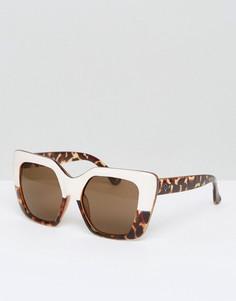 Квадратные солнцезащитные очки в стиле колор блок Quay Australia Westend Girl - Коричневый