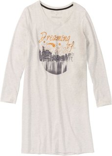 Ночная сорочка (натуральный меланж с рисунком) Bonprix
