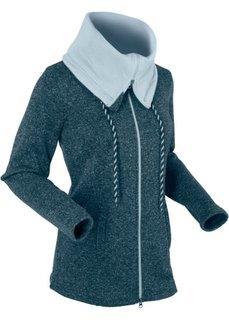 Вязаная флисовая куртка с длинным рукавом (темно-синий меланж) Bonprix