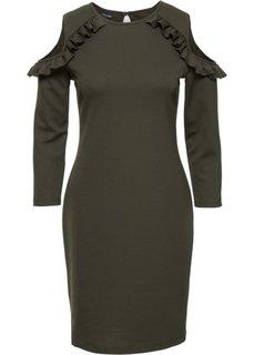 Трикотажное платье с вырезами (оливковый) Bonprix
