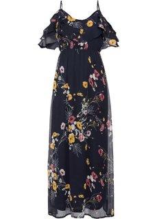 Макси-платье с цветочным принтом и вырезами в области плеч (темно-синий с рисунком) Bonprix