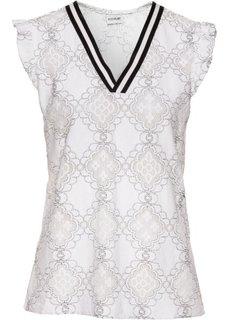 Кружевная блузка с контрастными полосками у выреза (цвет белой шерсти) Bonprix
