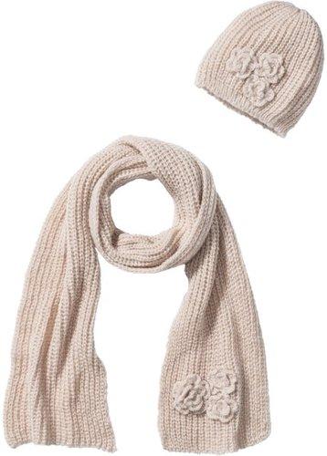 Комплект Алина: шапочка и шарф (2 изд.) (цвет пудры)