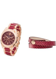 Набор: часы + браслет (бордовый/розово-золотистый) Bonprix