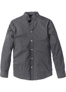 Рубашка Slim Fit с длинным рукавом (антрацитовый с узором) Bonprix