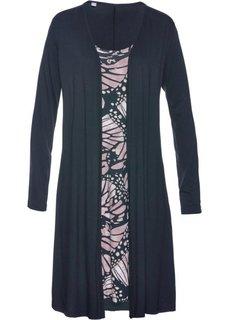 Трикотажное платье 2 в 1 (черный/розовый матовый с рисунком) Bonprix
