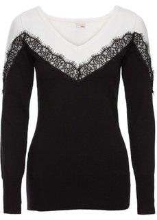 Пуловер с кружевными вставками (черный/белый) Bonprix