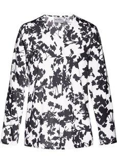 Удлиненная блузка (белый/черный с рисунком) Bonprix