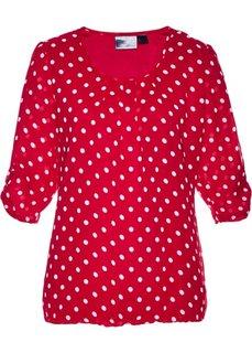 Блузка с принтом (темно-красный/белый в горошек) Bonprix