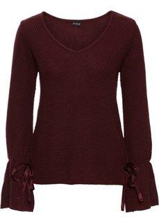 Пуловер на шнуровке (кленово-красный) Bonprix