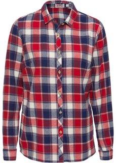 Фланелевая рубашка с длинным рукавом (синий/красный в клетку) Bonprix