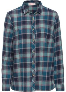 Фланелевая рубашка с длинным рукавом (синий/сине-зеленый в клетку) Bonprix