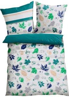 Постельное белье Листья, линон (зеленый) Bonprix