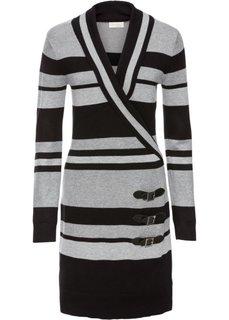 Вязаное платье (черный в полоску) Bonprix