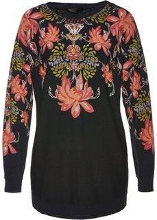Пуловер (черный с рисунком) Bonprix