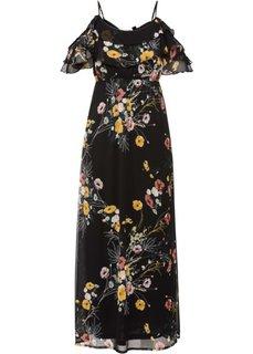 Макси-платье с цветочным принтом и вырезами в области плеч (черный с рисунком) Bonprix