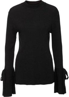 Пуловер с расклешенными рукавами (черный) Bonprix