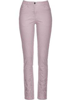 Стрейтчевые брюки со стразами и вышивкой (розовый матовый) Bonprix
