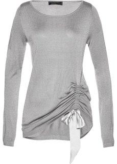 Пуловер с драпировкой (серый меланж) Bonprix