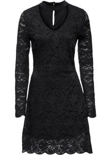Трикотажное платье с кружевом и чокером (черный) Bonprix