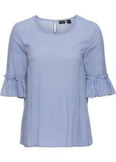 Полосатая блузка с рукавами-колокольчиками (нежно-голубой/белый в полоску) Bonprix