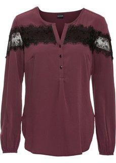 Блузка с кружевной отделкой (красная ягода) Bonprix
