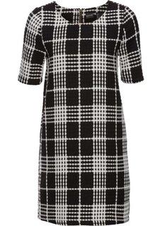Жаккардовое платье (черный/цвет белой шерсти) Bonprix