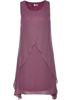 Платье с воланами (матовый ягодный) Bonprix