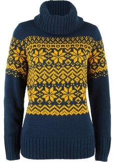 Пуловер в норвежском стиле (темно-синий/лимонный с узором) Bonprix
