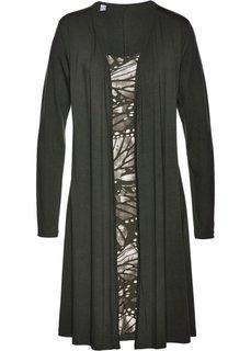 Трикотажное платье 2 в 1 (темно-оливковый/каменно-бежевый с рисунком) Bonprix