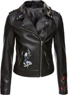 Куртка из искусственной кожи с вышивкой (черный) Bonprix