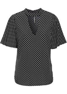 Блузка в горошек с чокером (черный/белый в горошек) Bonprix