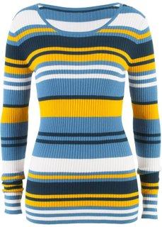 Пуловер с круглым вырезом (синий в полоску) Bonprix
