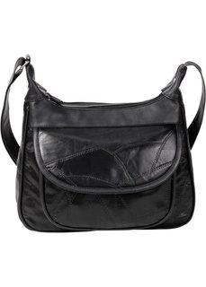 Кожаная сумка с заплатками (черный/синий/темно-красный) Bonprix