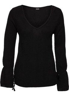 Пуловер на шнуровке (черный) Bonprix