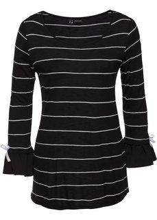 Полосатая футболка с воланами (черный/белый в полоску) Bonprix