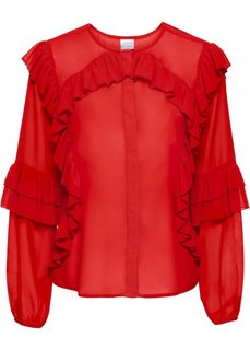 Блузка с воланами (красный) Bonprix