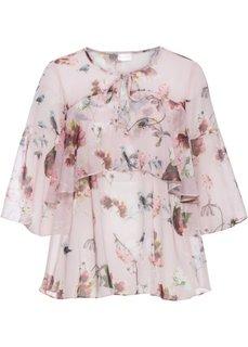Шифоновая блузка с воланами (розовый с рисунком) Bonprix