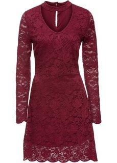 Трикотажное платье с кружевом и чокером (кленово-красный) Bonprix