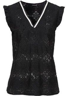 Кружевная блузка с контрастными полосками у выреза (черный) Bonprix
