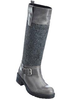 Кожаные сапоги (темно-серый) Bonprix