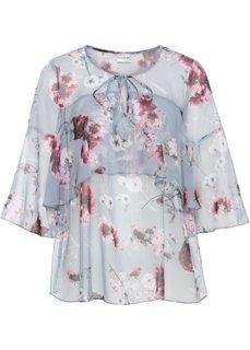 Шифоновая блузка с воланами (серый с рисунком) Bonprix