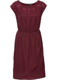 Платье с цветочной вышивкой (кленово-красный) Bonprix