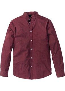 Рубашка Slim Fit с длинным рукавом (кленово-красный с узором) Bonprix