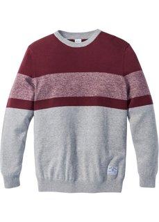 Пуловер Regular Fit в полоску (светло-серый меланж/бордовый) Bonprix