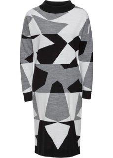 Вязаное платье (серый/белый/черный с узором) Bonprix