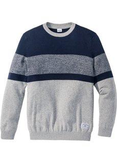 Пуловер Regular Fit в полоску (светло-серый меланж/темно-синий) Bonprix